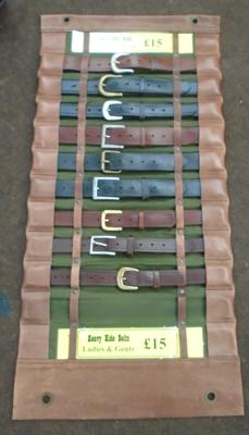 Leather style belt display with belts