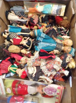 Box of vintage dolls