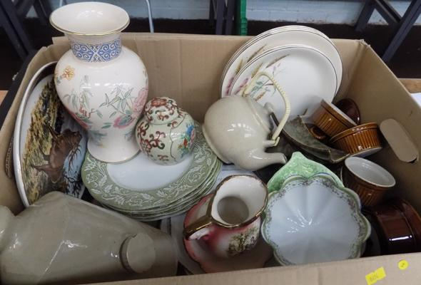 Large box of mixed pottery incl; Meakin, Staffordshire and Wade