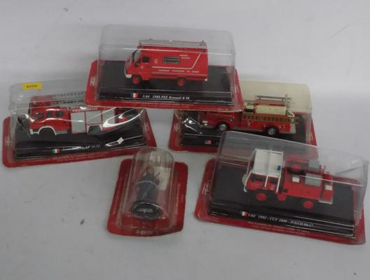 Four Del Prada fire engines + Del Prado fireman