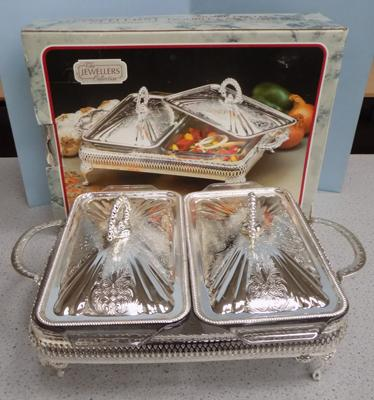 Silver plated double casserole dish - boxed