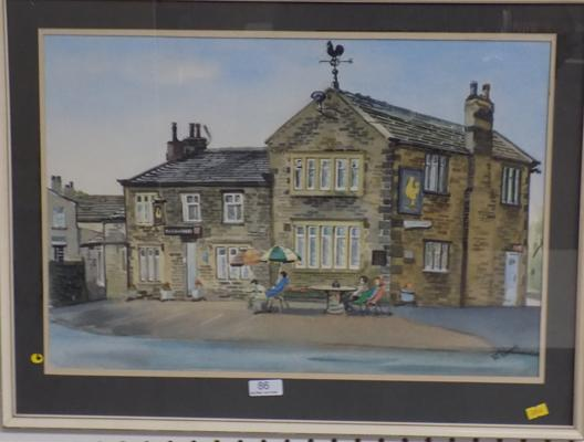 Framed Golden Cock, Farnley Tyas painting by Pat Pridmore