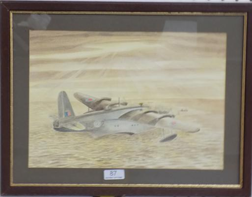 Framed watercolour of Short Sunderland Plane