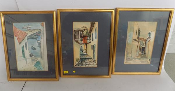 Three framed prints, signed Christoph