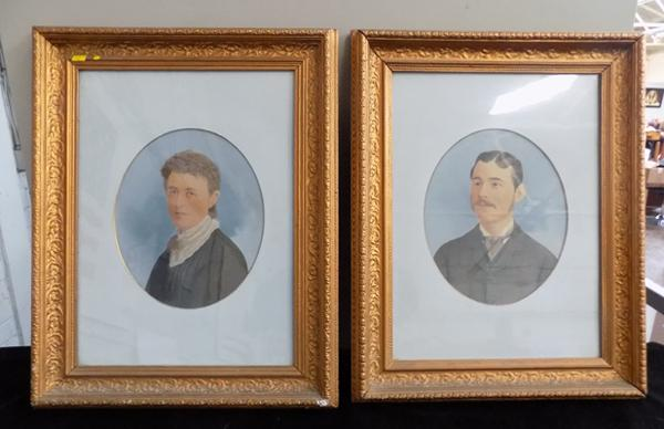 Pair of late 1800's framed portraits of Thomas Gooch & fiancee Eliza Wallace
