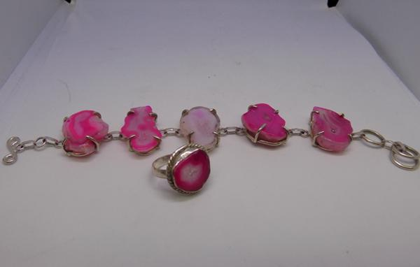 Silver and pink stone set bracelet with ring