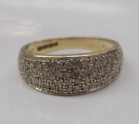 9ct gold Pave set Diamond ring. Size P 1/2