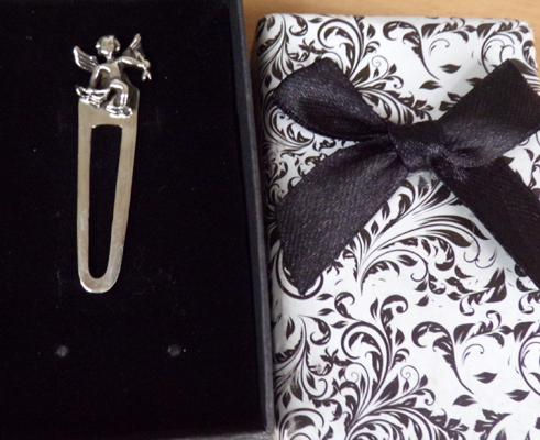 925 silver bookmark with cupid, in box