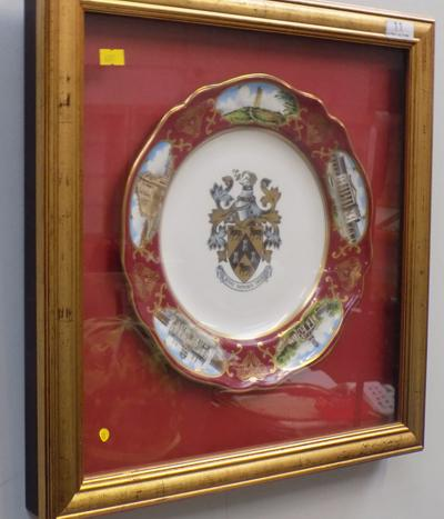 Framed & mounted Ltd Edition plate-'The Huddersfield Borough' 74/200