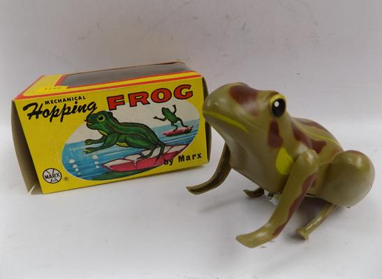 Vintage boxed hopping frog by Louis Marx toys