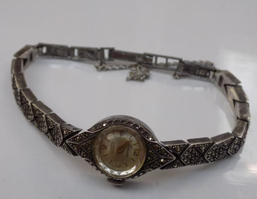 Vintage sterling silver & marcasite watch