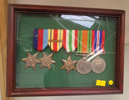 WWII set of 5 medals-framed