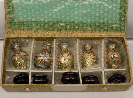 Set of 5 cloisonne miniature vases with stands