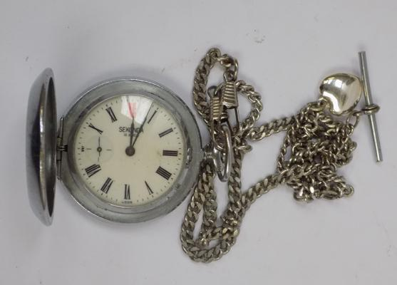 Vintage cased Sekonda 18 jewel pocket watch with double chain T bar & locket