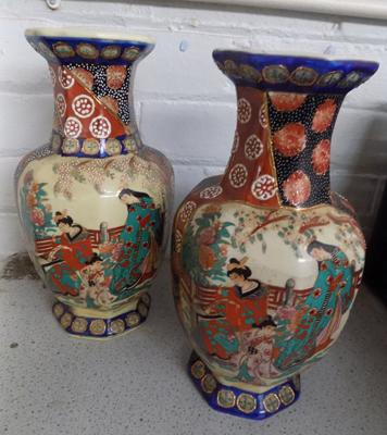 Pair of Oriental vases approx 12 inches