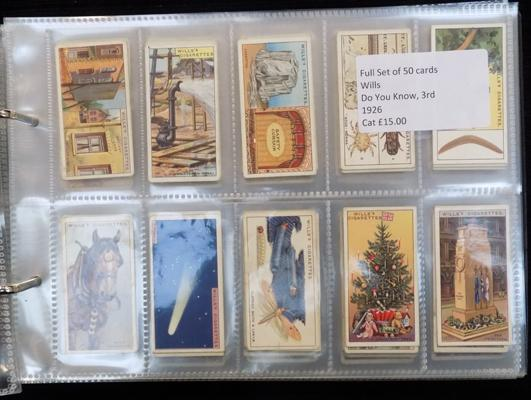8 full sets of cigarette cards in album
