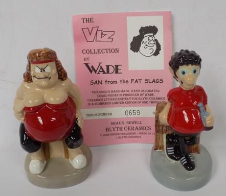 Wade Limited Edition Viz figures, San & Sid the sexist-no damage