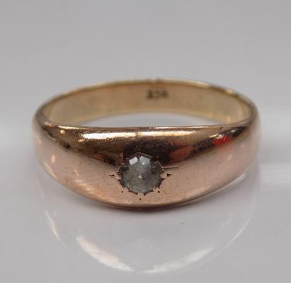 9ct rose gold gents signet ring - Size U 1/2