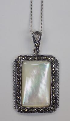 Silver pearl and marcasite pendant on silver chain