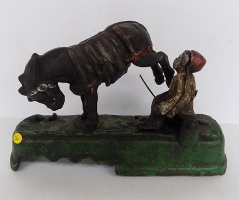 Vintage cast iron novelty money box bucking horse & monkey