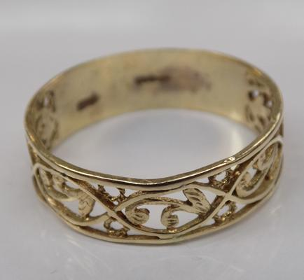 Antique 9ct gold scrollwork ring - Size W