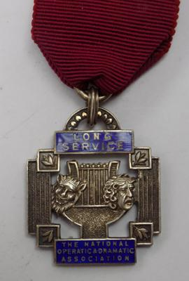 Vintage sterling silver & enamel long service medal-National Operatic & Dramatic Association