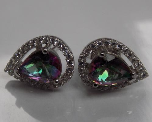 925 silver and mystic topaz earrings