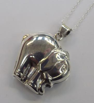 Silver elephant locket on silver chain