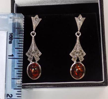 Pair of silver amber and marcasite earrings