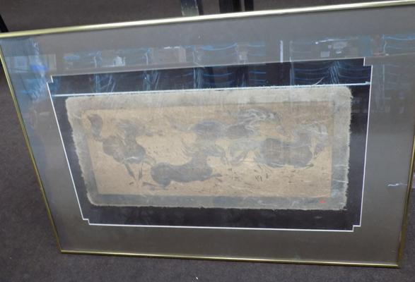 Framed, signed tribal cloth picture - glass cracked top left