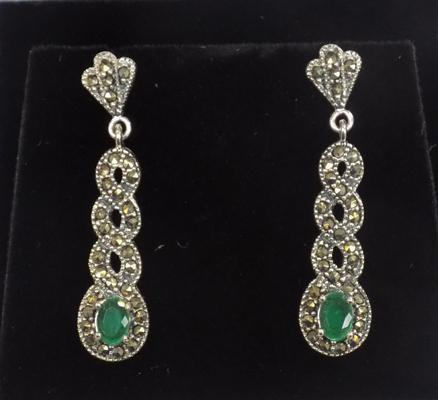 Pair of silver emerald and marcasite earrings