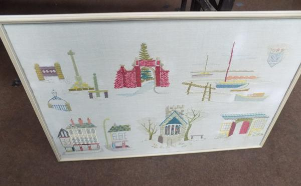 Large vintage embroidery - framed