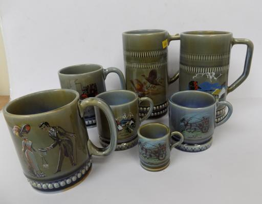 7x Irish wade tankards various sizes-no damage