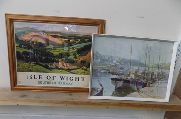 Vintage Vernon Ward print approx 21 inches x 16 inches & railway 'Isle of Wight' print approx 23 inches x 19 inches