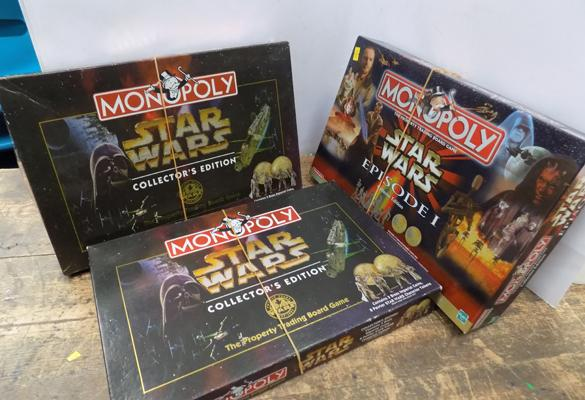 3 x Star Wars Monopoly includes Pewter figures/coins all complete