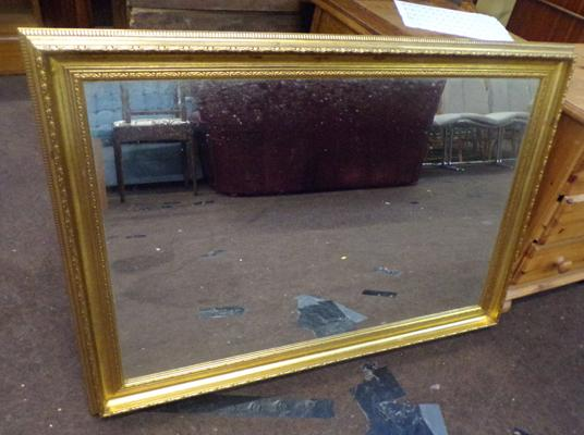 "Large gold framed mirror - size 40""x 29"" approx"
