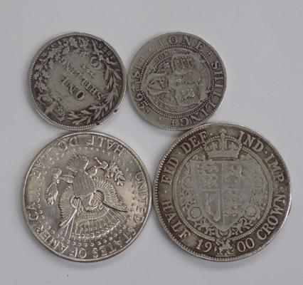 Silver Victorian Half Crown 1900, Full Silver J F Kennedy 1964 Half Dollar and 2 Silver Victorian Shillings 1895 & 1885