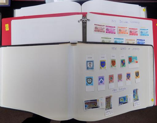 3 albums of Chanel Islands and Isle of Man stamps
