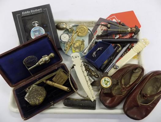 Tray of mixed collectables inc vintage baby pusher & miniature snake skin purse