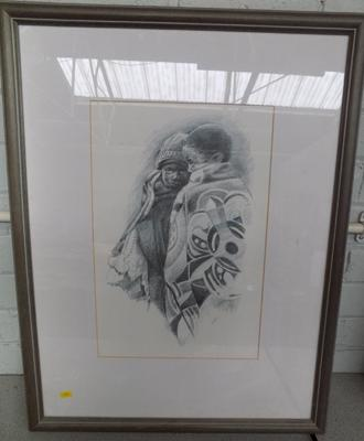 Large framed pencil drawing of children