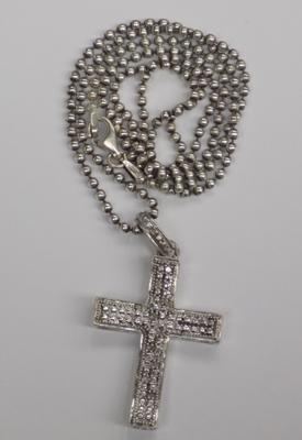 Silver diamond cross pendant on silver bobble chain
