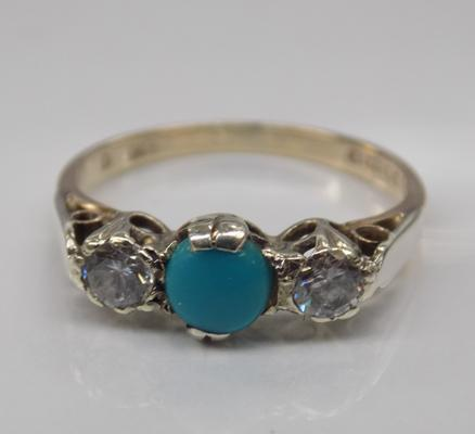 9ct gold turquoise trilogy ring - size N