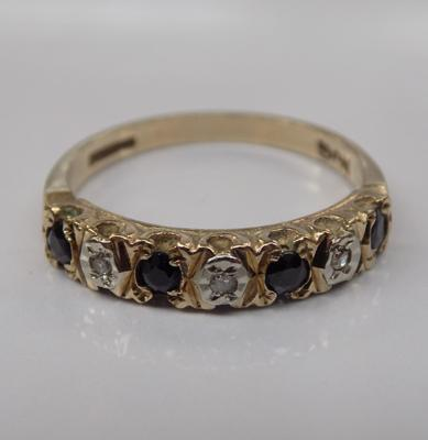 9ct gold sapphire and diamond half eternity ring - Size M