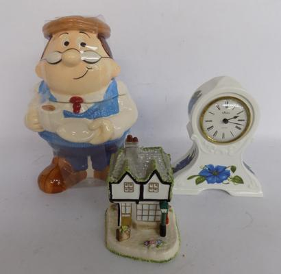 Tetley tea caddy with tea bags, Aynsley clock, Coalport 'Old curiosity shop'-all good condition