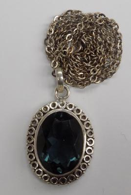 Large silver and blue stone necklace