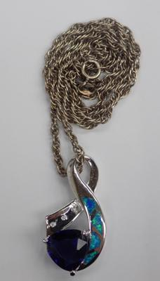 Large 925 silver and blue stone pendant on silver chain