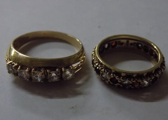 9ct gold eternity ring 1994 size K + yellow metal ring size R