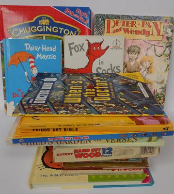 Box of children's books-some vintage. Enid Blyton, Dr Seuss, wooden jigsaw