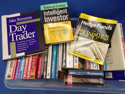 Box of various books - stock market, trading books