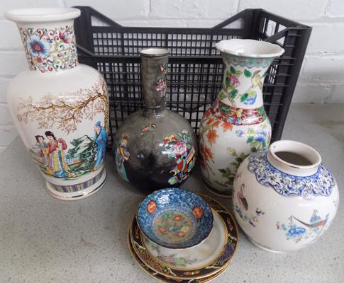 Box of mixed pottery & ceramics-Oriental themed
